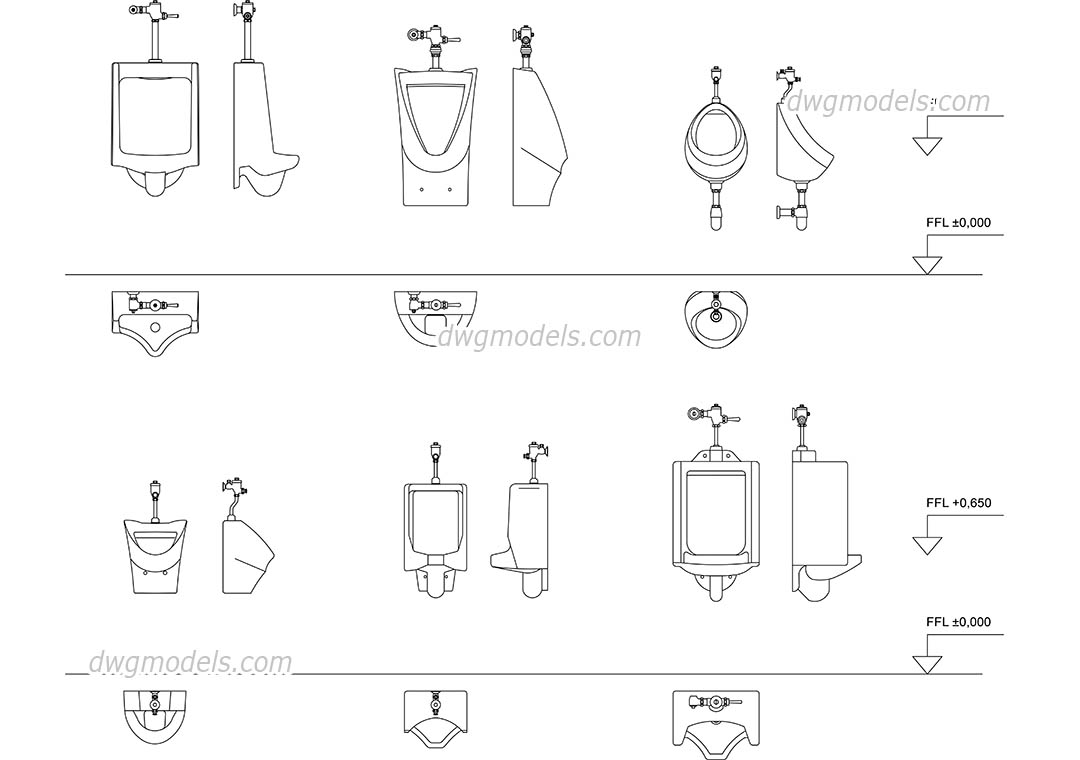 Urinal all views dwg, CAD Blocks, free download.