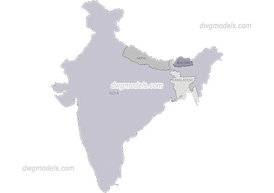 Maps of India, Nepal, Bangladesh, Bhutan free dwg model