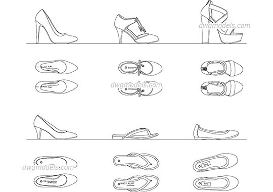 Women's Shoes free dwg model