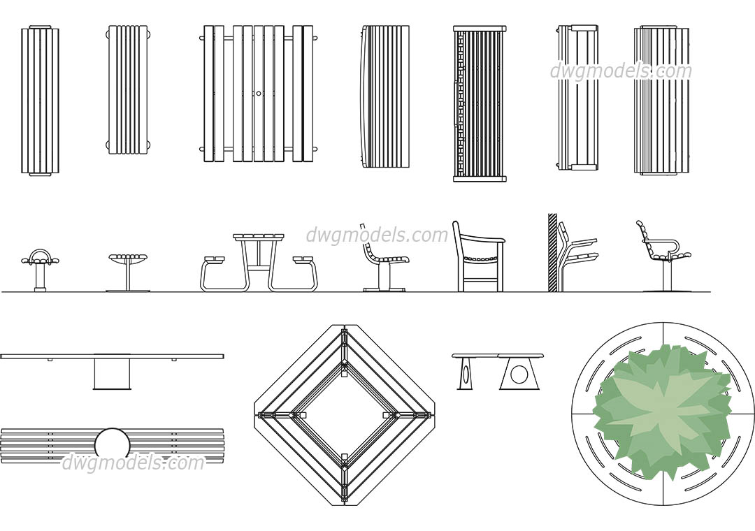 Benches DWG Free CAD Blocks Download - Picnic table dwg