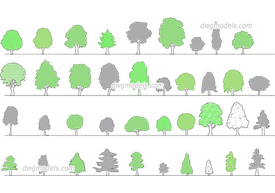 Trees elevation dwg, cad file download free