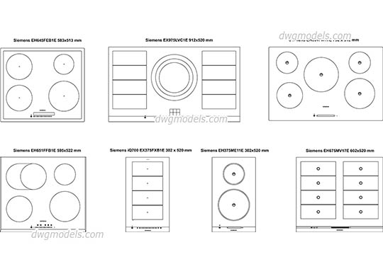 Induction cooktops free dwg model