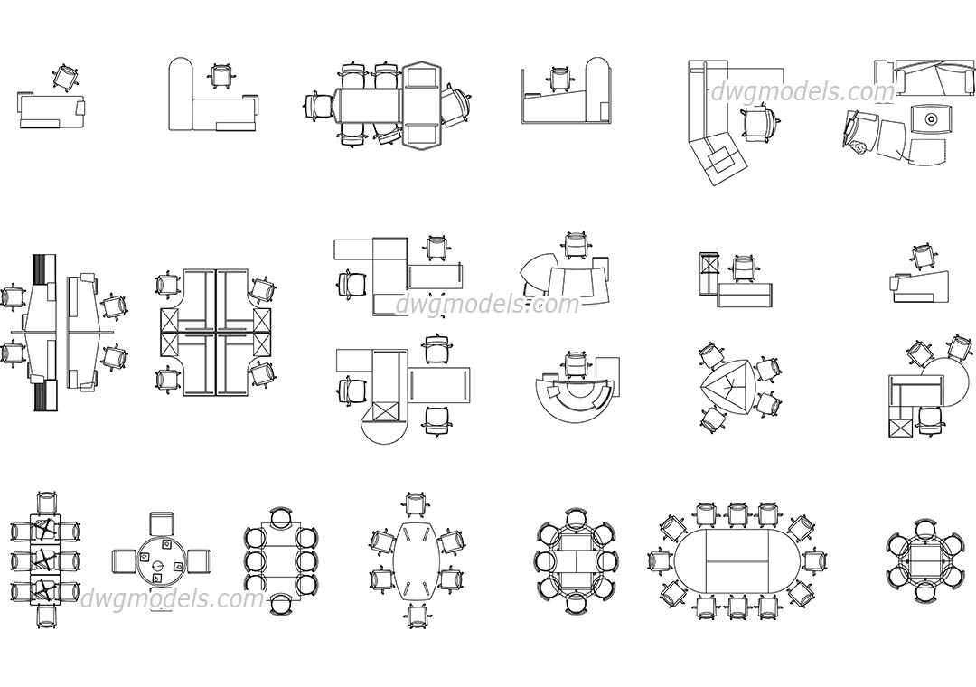 Office furniture DWG, free CAD Blocks download