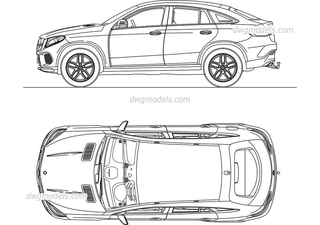 Mercedes-Benz GLC Coupe dwg, CAD Blocks, free download.