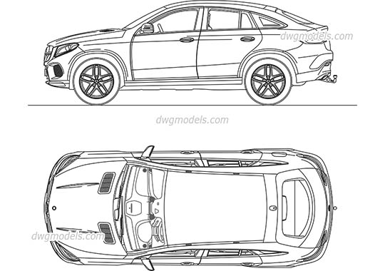 Mercedes-Benz GLC Coupe - DWG, CAD Block, drawing