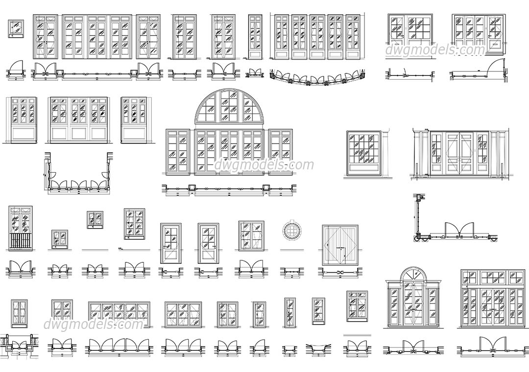 Doors and windows set dwg CAD Blocks free download.  sc 1 st  DWG models & Doors and windows set DWG free CAD Blocks download