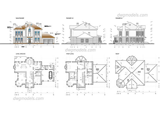 Family house dwg, cad file download free.