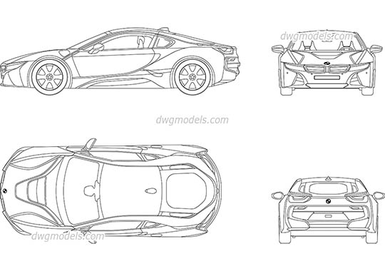 BMW i8 - DWG, CAD Block, drawing.