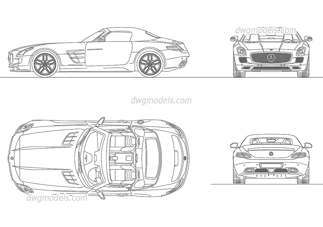 Mercedes-Benz SLS AMG Roadster 2012 dwg, CAD Blocks, free download.