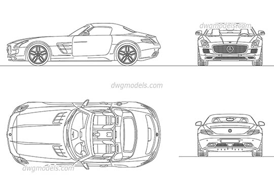 Mercedes-Benz SLS AMG Roadster 2012 - DWG, CAD Block, drawing