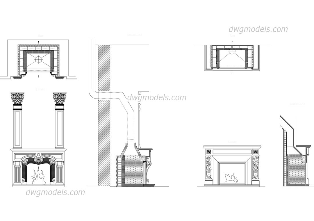 Fireplaces Dwg Free Cad Blocks Download