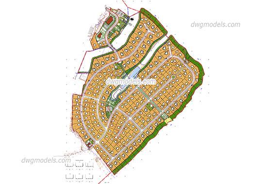 General village plan dwg, cad file download free.