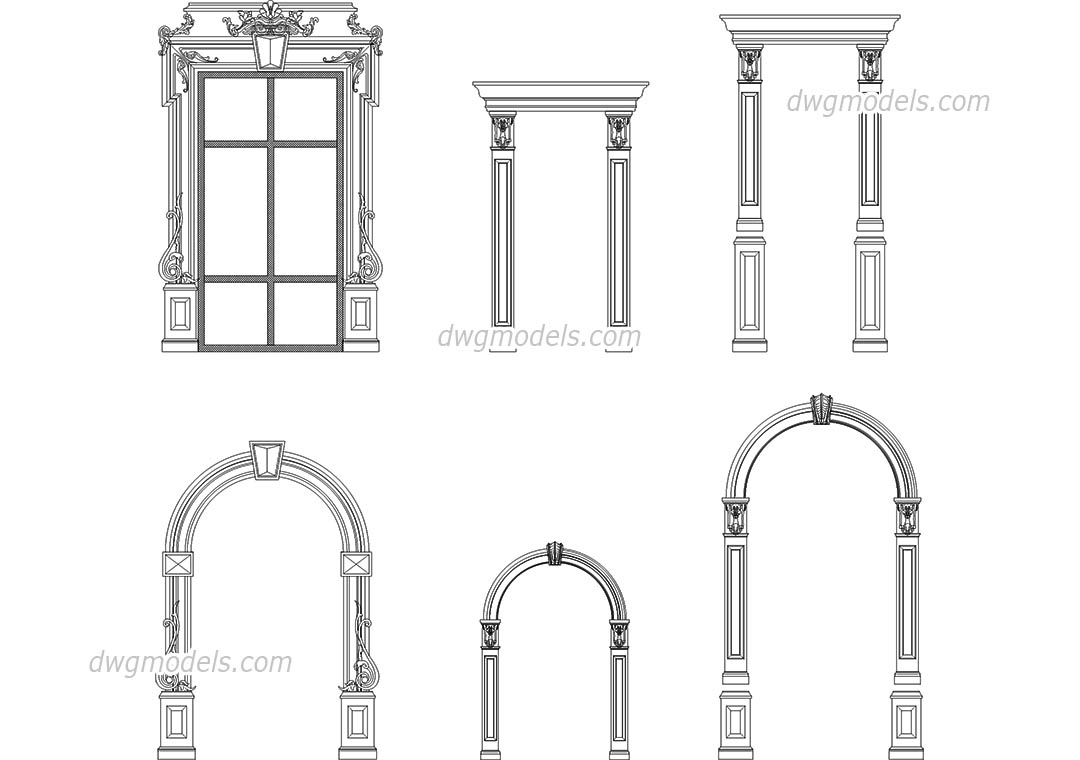 Decorative frames dwg, CAD Blocks, free download.