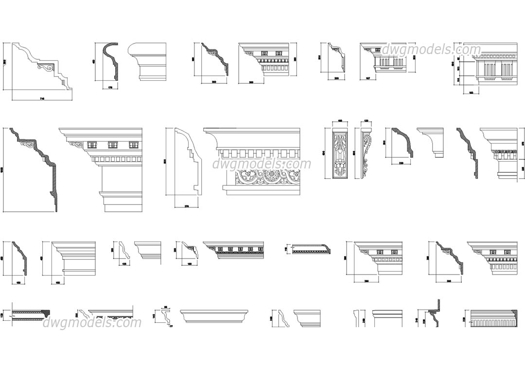 Cornices and mouldings for facades DWG, free CAD Blocks download
