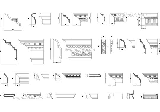 Cornices and mouldings for facades dwg, cad file download free