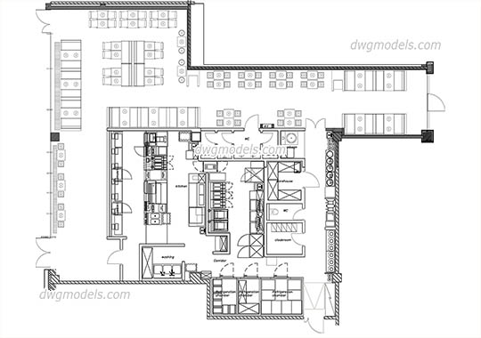 Restaurant Kitchen Plan Dwg bars, restaurants dwg models, free download