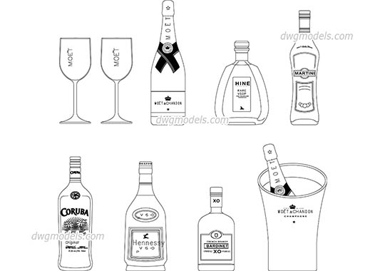 Bottles dwg, cad file download free.