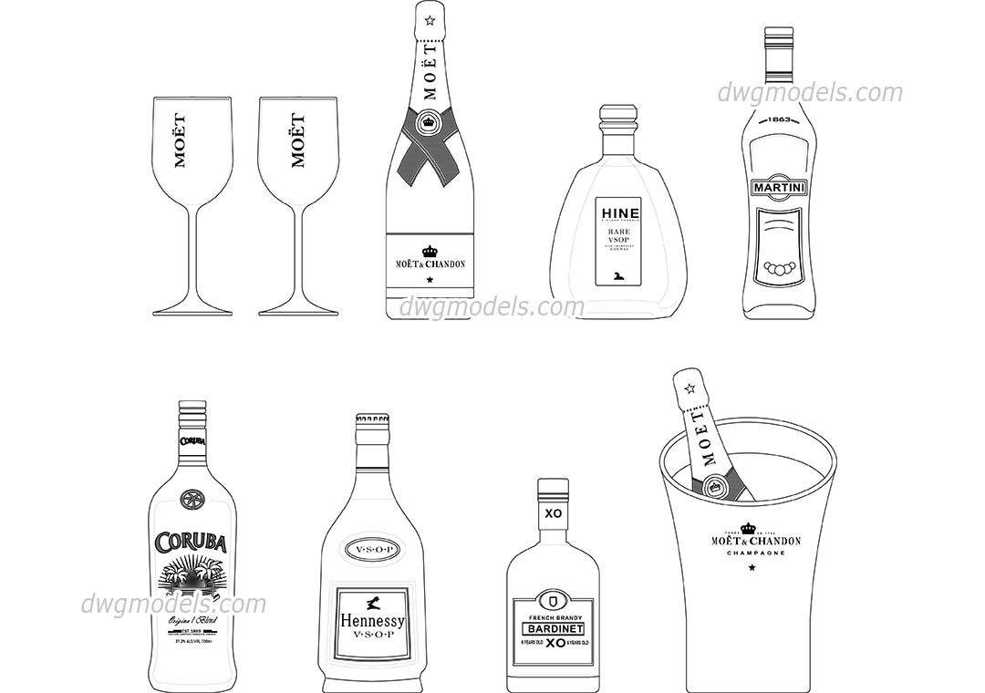 Bottles Dwg Free Cad Blocks Download