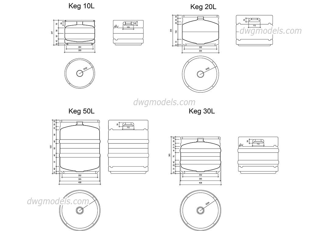 Beer Kegs dwg, CAD Blocks, free download.