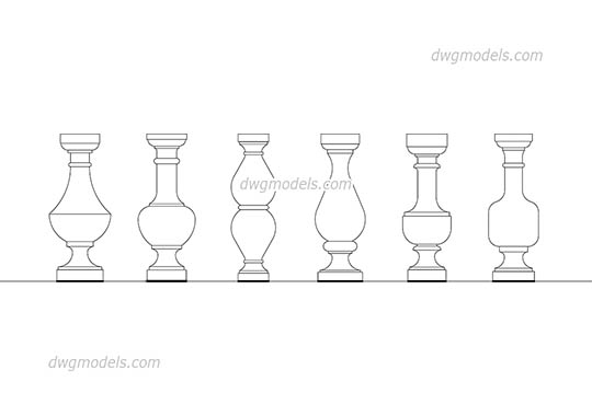 Balusters dwg, cad file download free