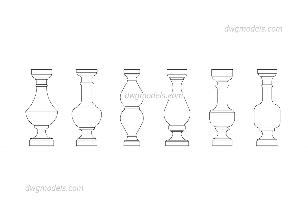 Balusters dwg, CAD Blocks, free download.