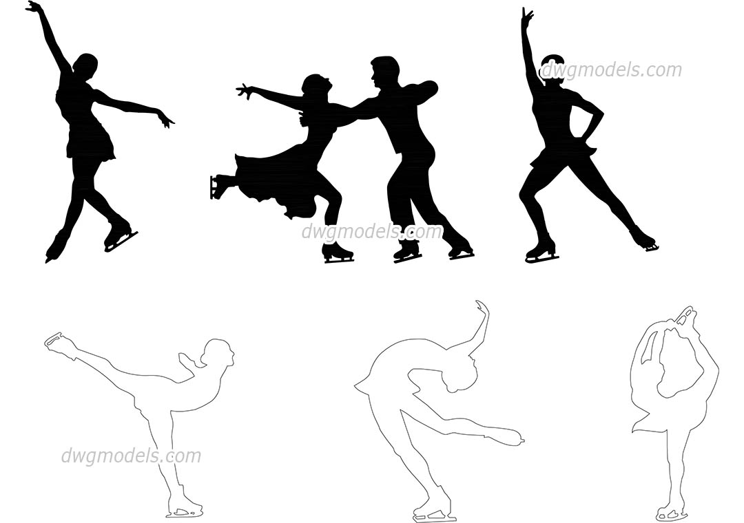 People figure skating dwg, CAD Blocks, free download.
