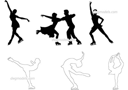 People figure skating - DWG, CAD Block, drawing.