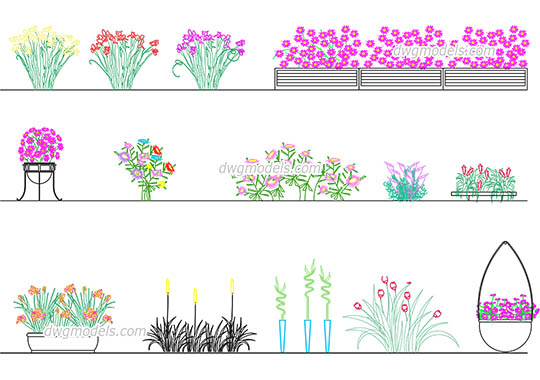 Flowers dwg, cad file download free