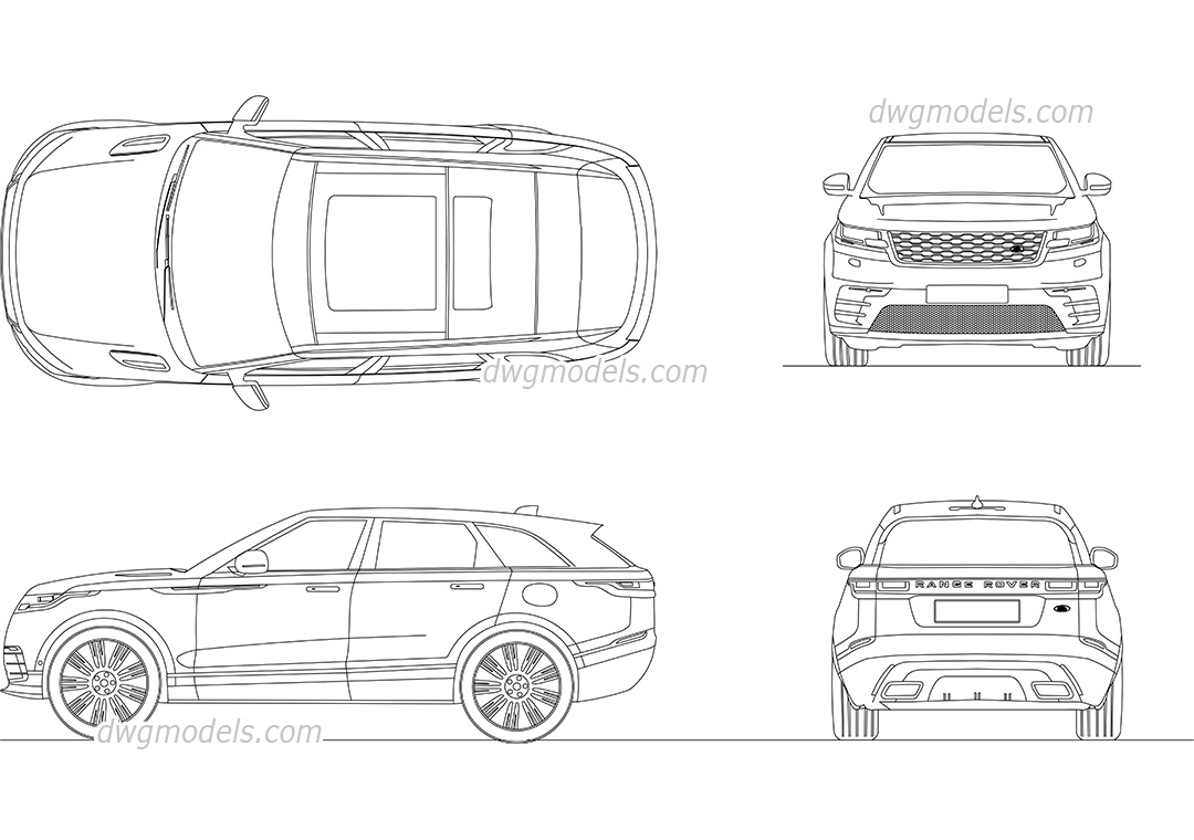 Range Rover Velar 2017 dwg, CAD Blocks, free download.