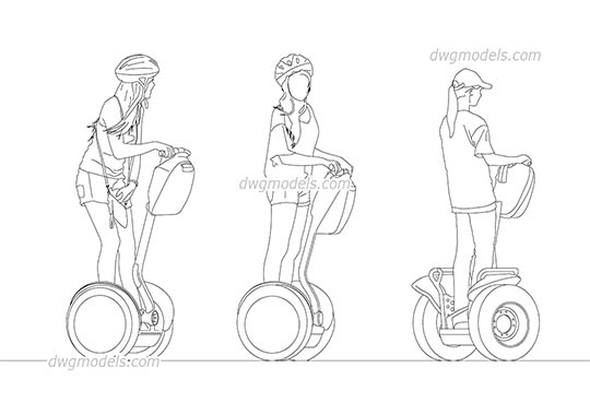 People riding a segway AutoCAD blocks
