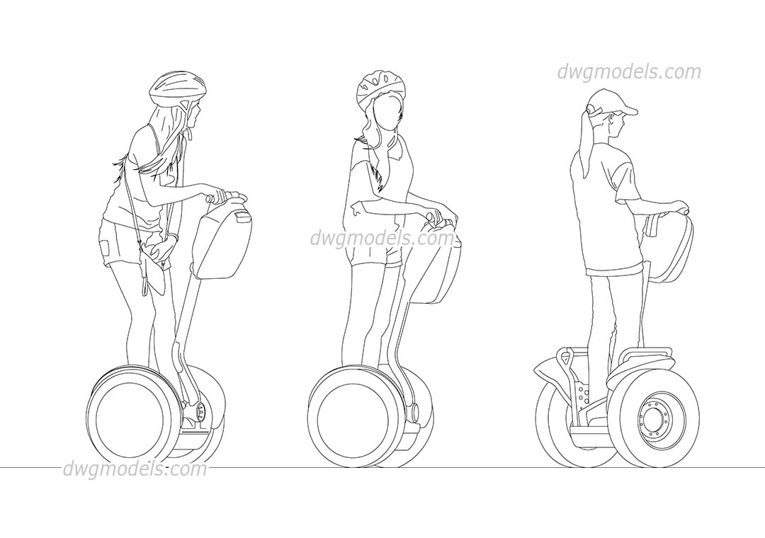 People riding a segway dwg, CAD Blocks, free download.