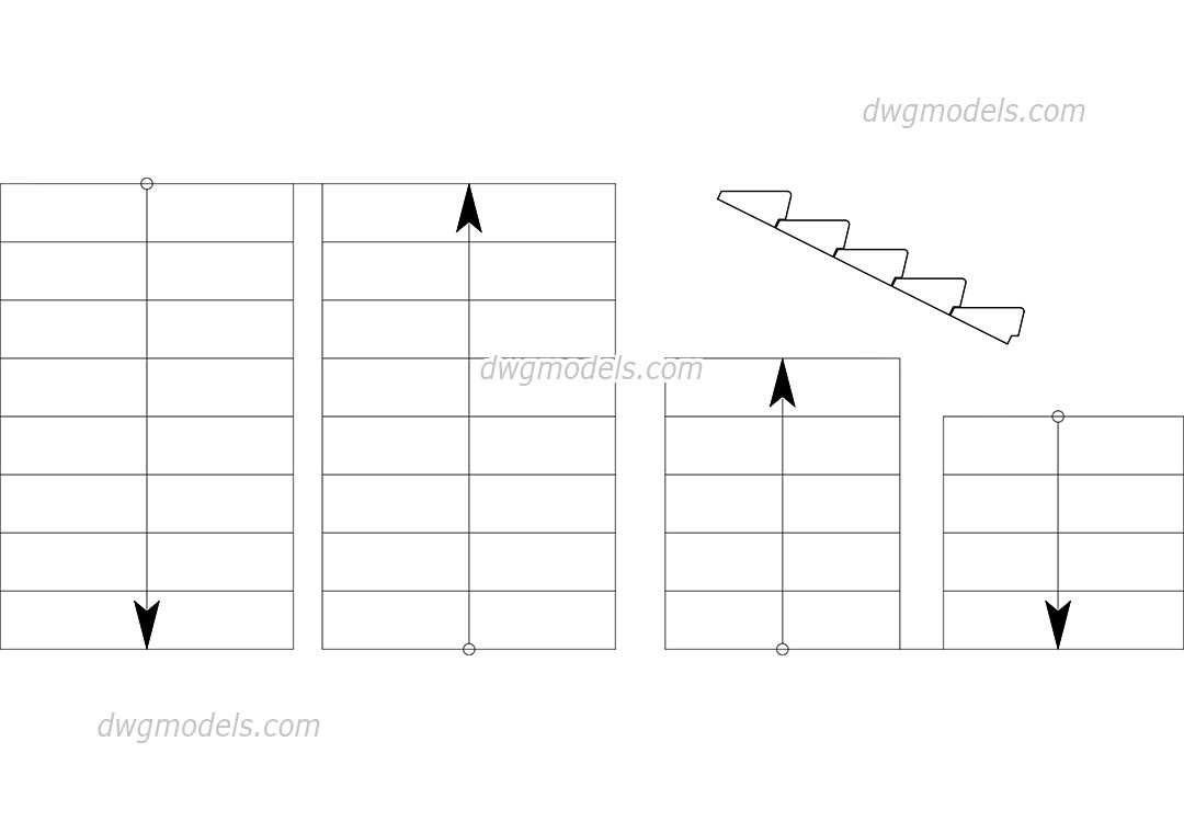 Stairs dynamic blocks dwg, CAD Blocks, free download.