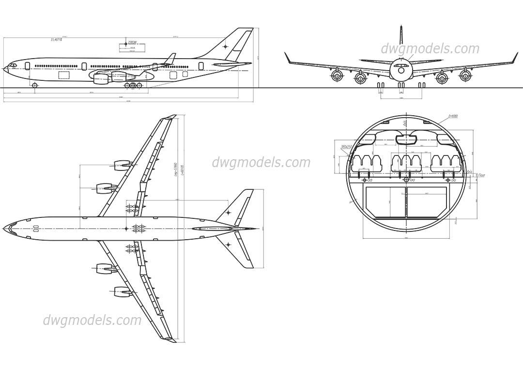 Airliner IL - 86 dwg, CAD Blocks, free download.