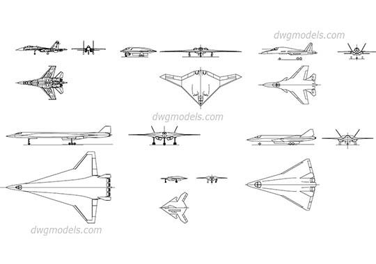 Military Aircrafts dwg, cad file download free