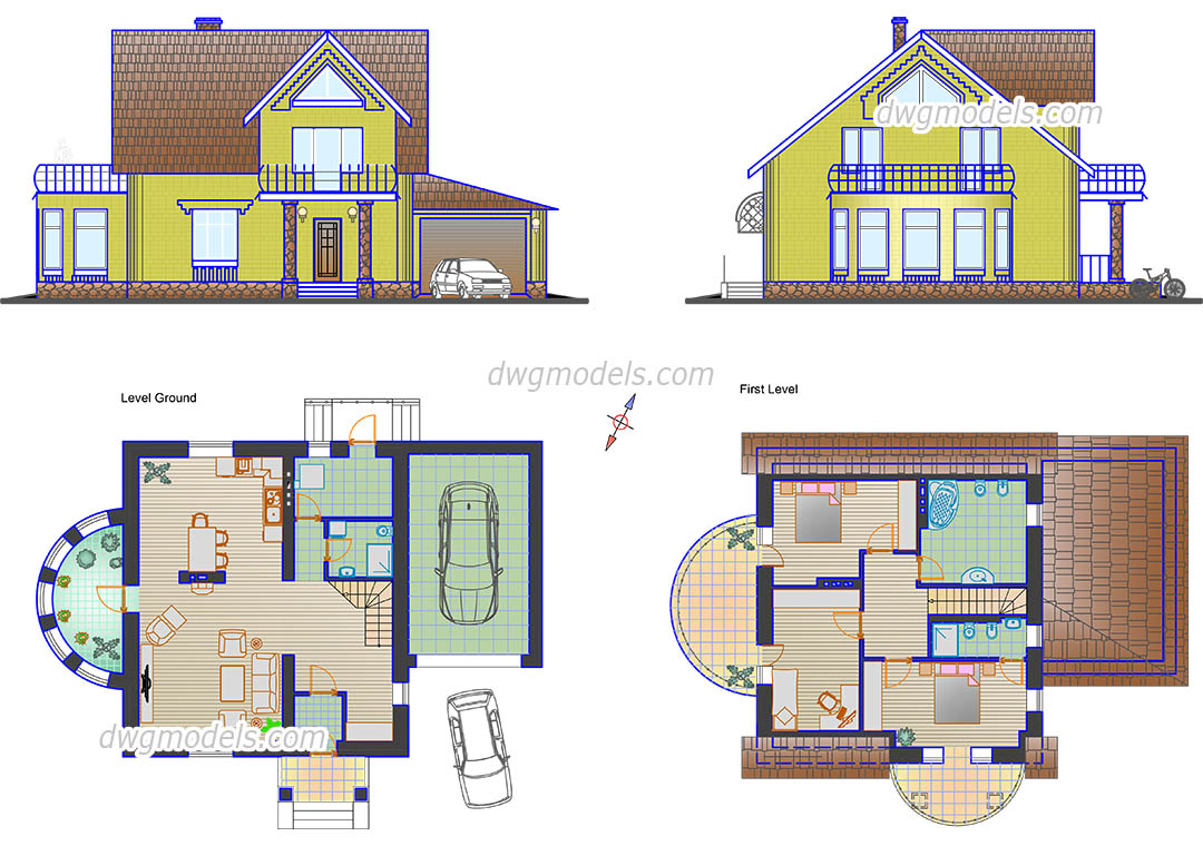 Small family house plans cad drawings autocad file download for Home architecture cad