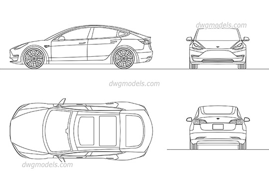 Tesla Model 3 - DWG, CAD Block, drawing