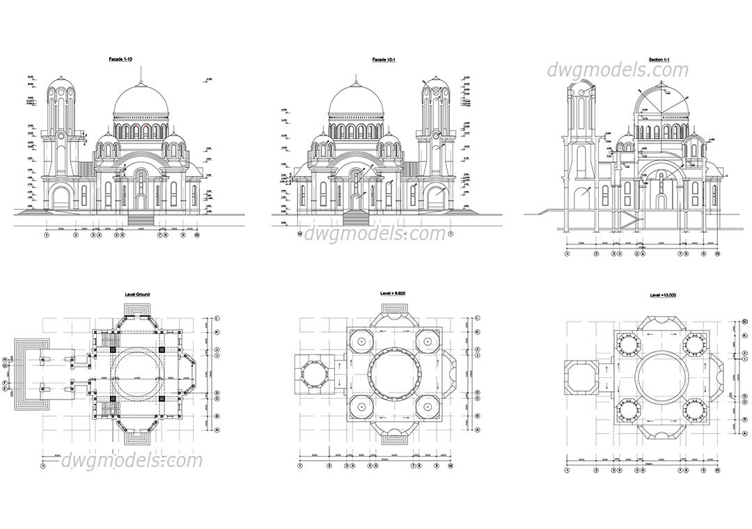 Church dwg, CAD Blocks, free download.