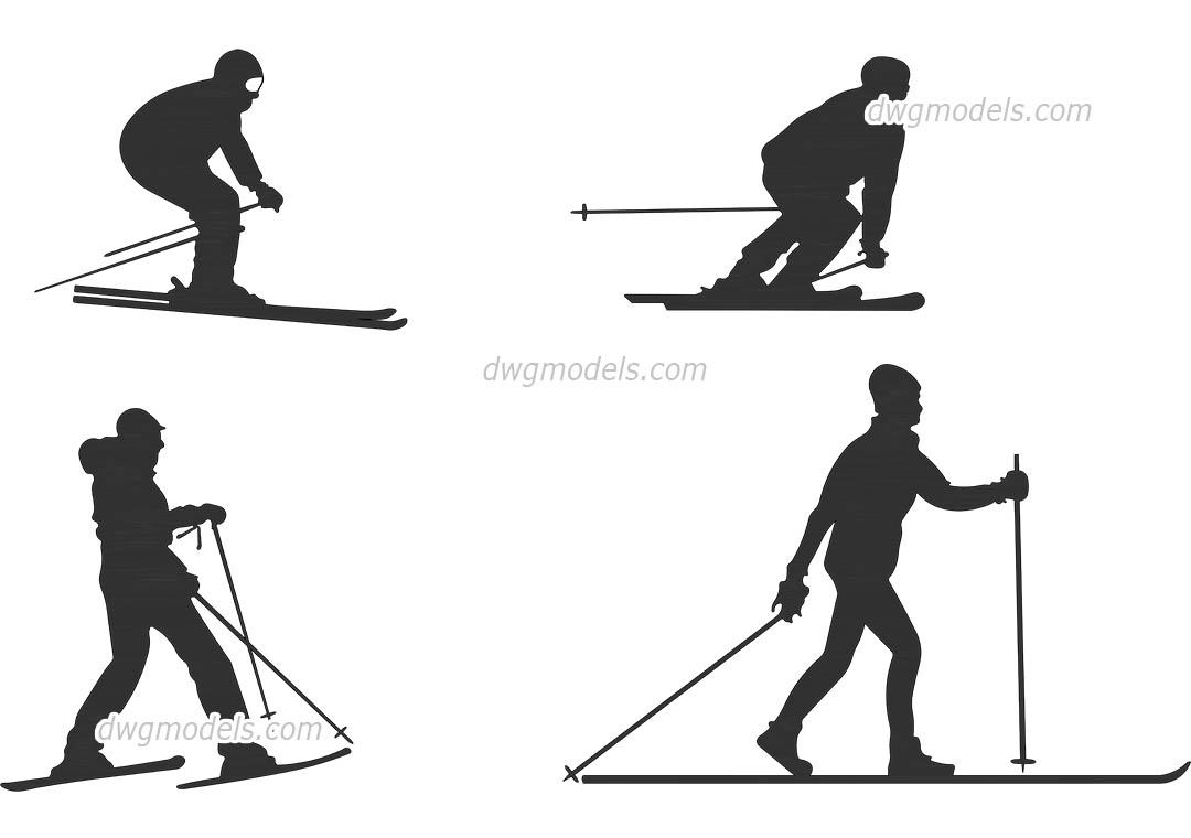 People skiing dwg, CAD Blocks, free download.