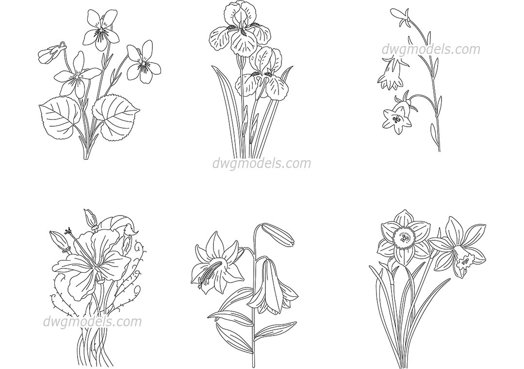 Flowering Plants dwg, CAD Blocks, free download.