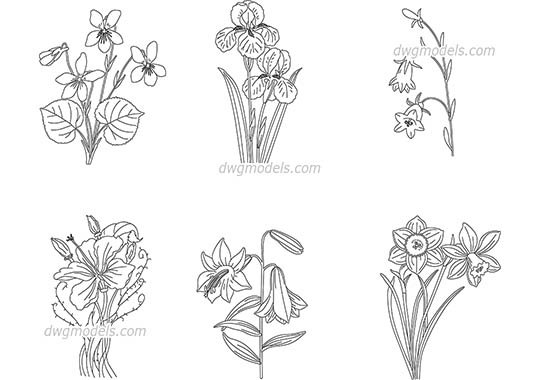Flowering Plants AutoCAD blocks