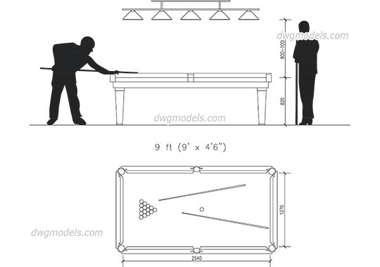 Billiards 1 - DWG, CAD Block, drawing.