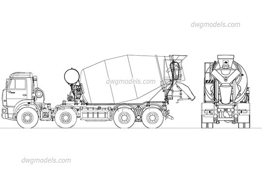 Kamaz Concrete Mixer - DWG, CAD Block, drawing.