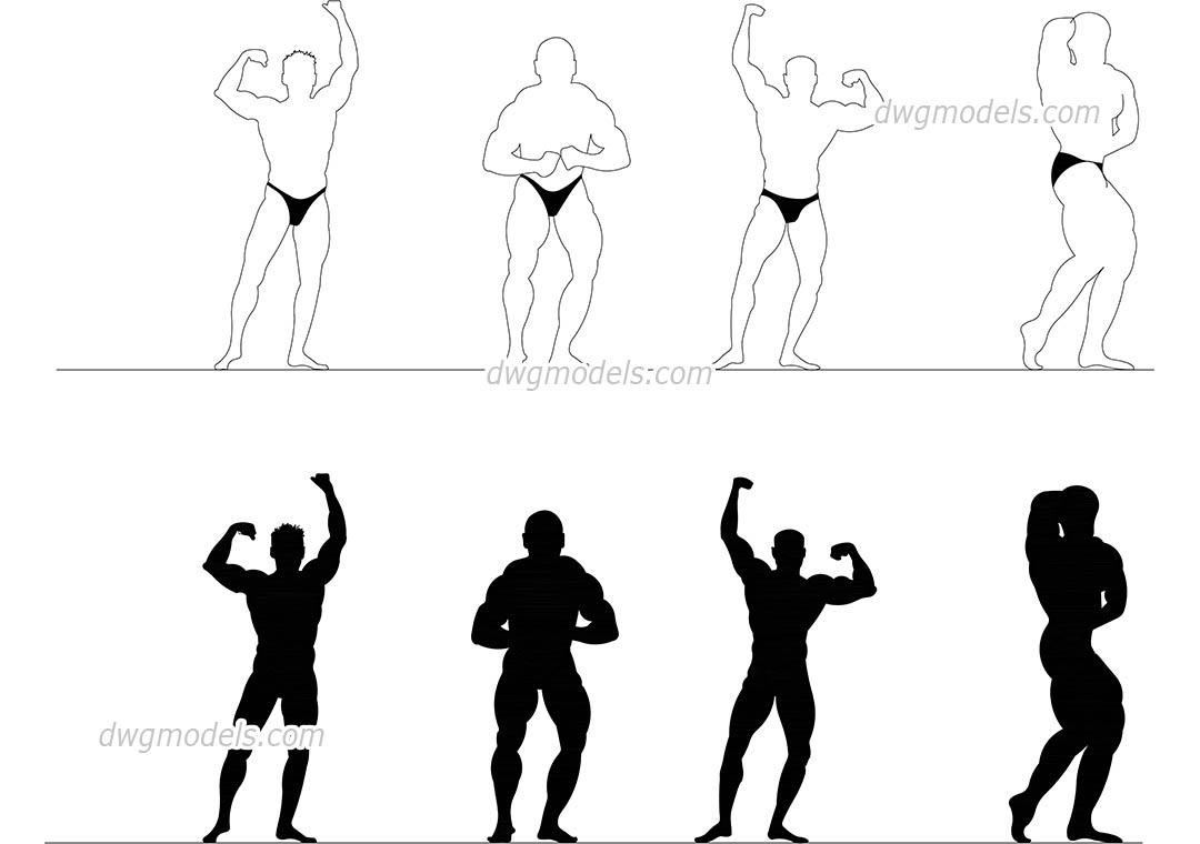 People bodybuilding dwg, CAD Blocks, free download.