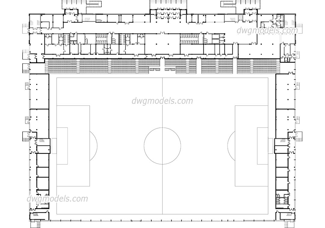 Football Stadium dwg, CAD Blocks, free download.