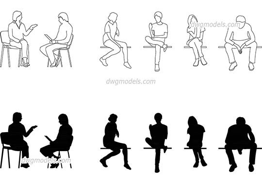 People sitting - DWG, CAD Block, drawing