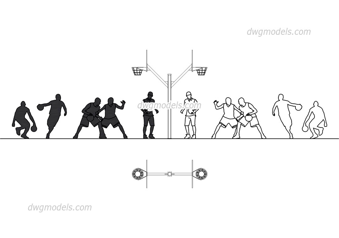 people basketball dwg  free cad blocks download