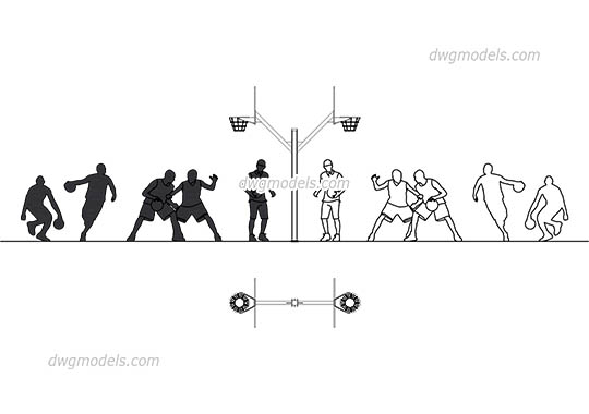 People basketball - DWG, CAD Block, drawing