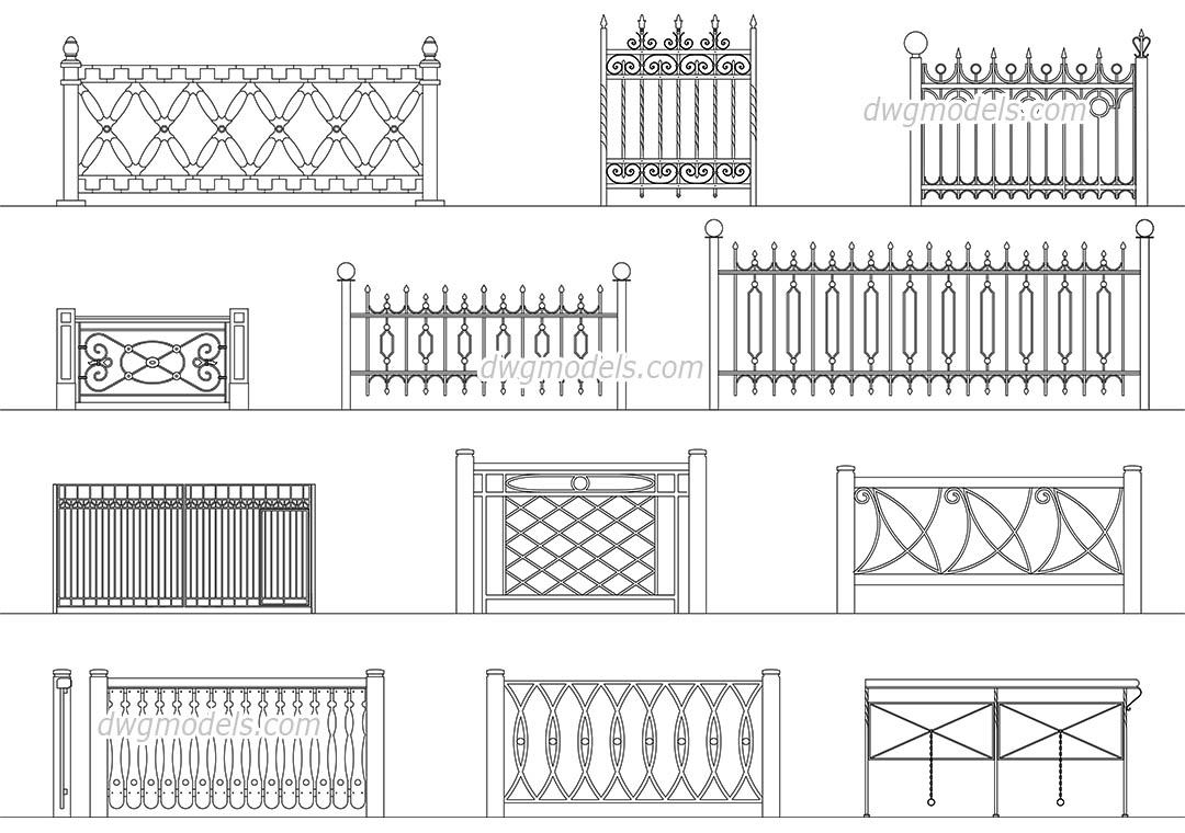 Wrought iron railings 2 dwg, CAD Blocks, free download.