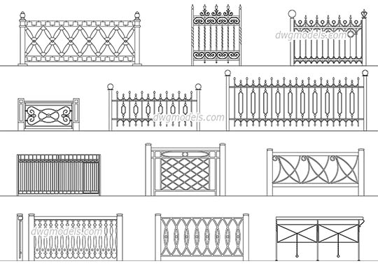 Wrought iron railings 2 free dwg model