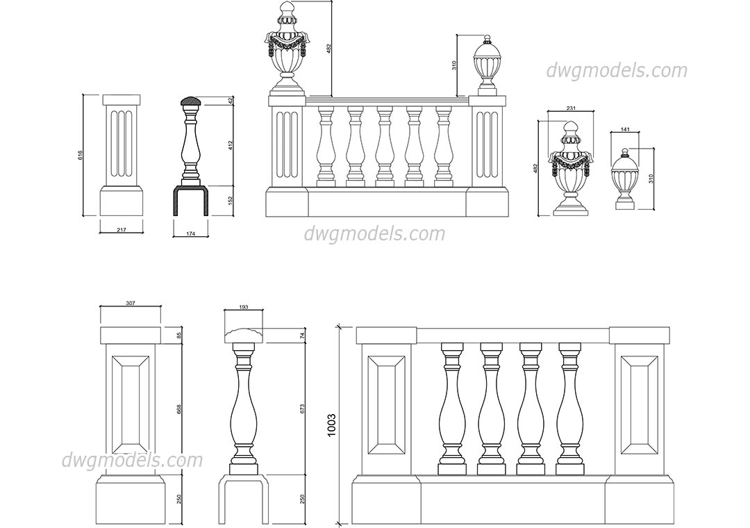 Balustrade elevation dwg, CAD Blocks, free download.